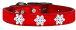 Snowflake Widget Genuine Metallic Leather Dog Collar Red 18